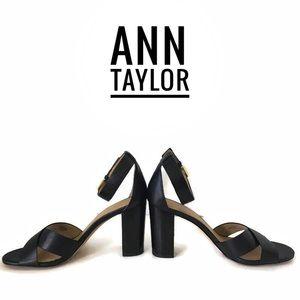 Ann Taylor Leather Block Heel Sandals